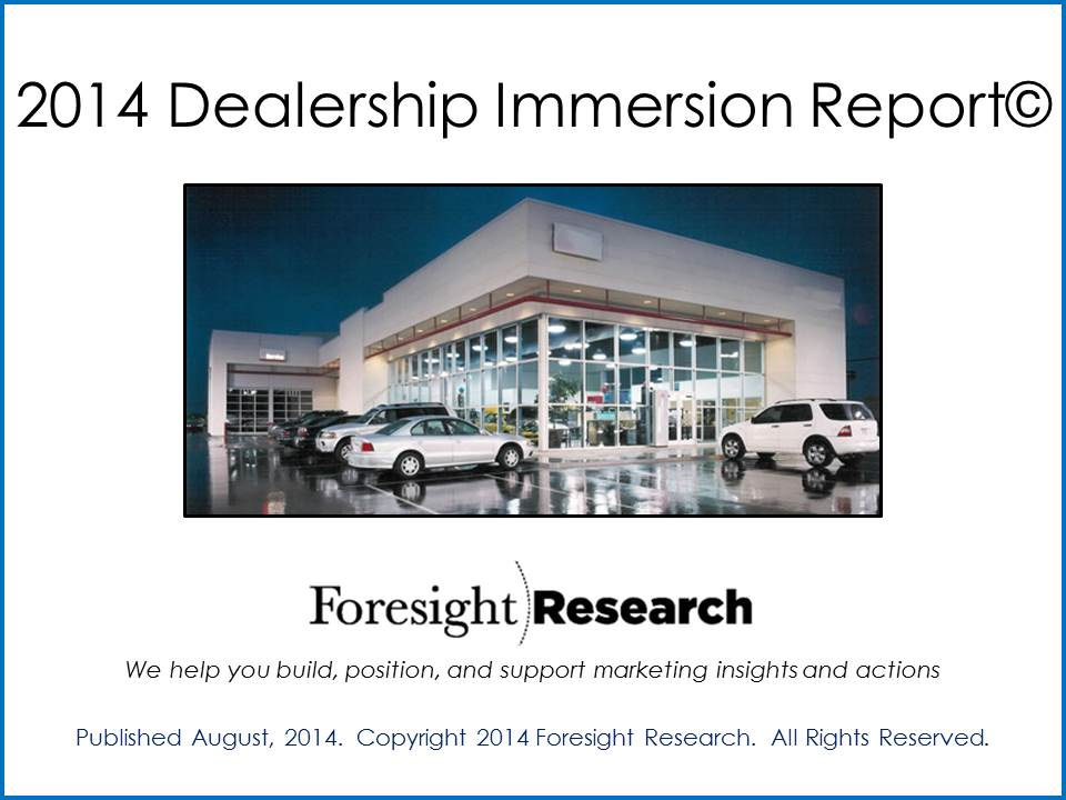 2014 Dealership Immersion Report Cover