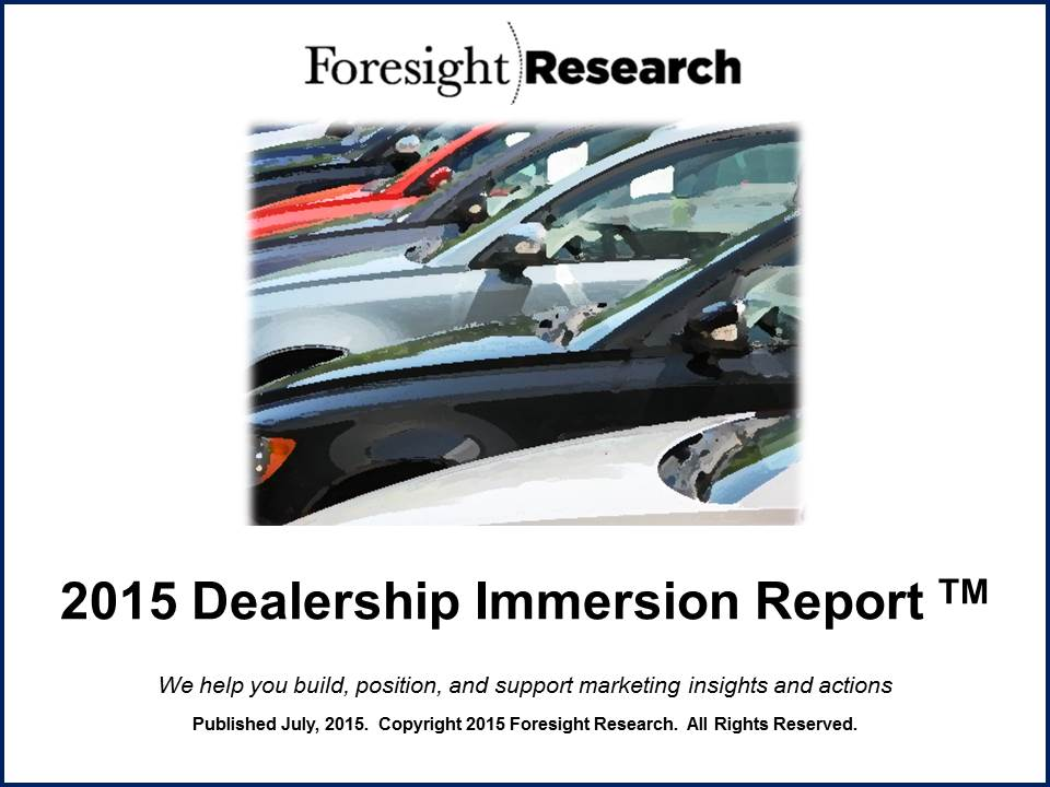 2015 Dealership Immersion Report cover