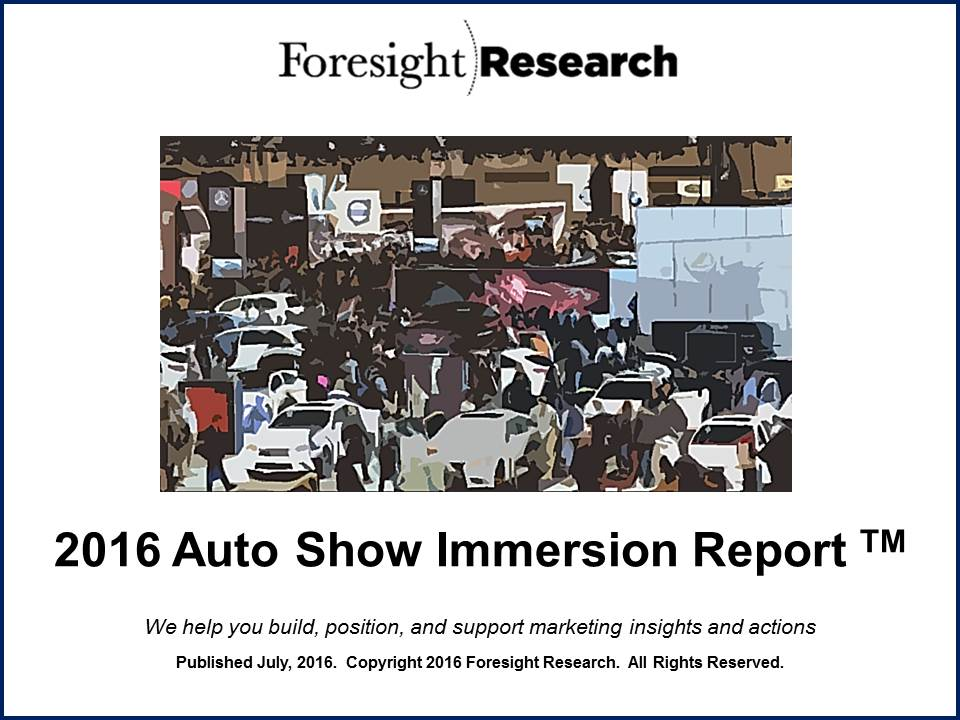2016 Auto Show Immersion Report Cover